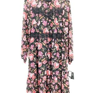Nine West  12 Black Pink Floral Lace Dress L4-04